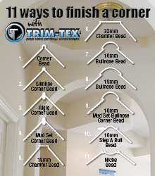 """Did you know that Trim-Tex trims can help you to finish a 90º corner in up to 11 different ways? From straight, square corners to round bullnose and modern Chamfer. Now introducing our new """"decorative"""" corner beads - Step a Bull and Niche Bead."""